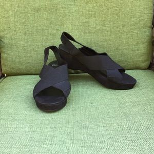Eileen Fisher black suede wedge sandal.
